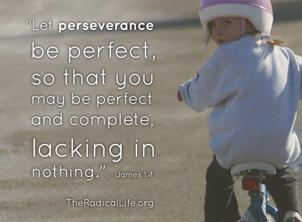 """And let perseverance be perfect, so that you may be perfect and complete, lacking in nothing."" (James 1:4)"